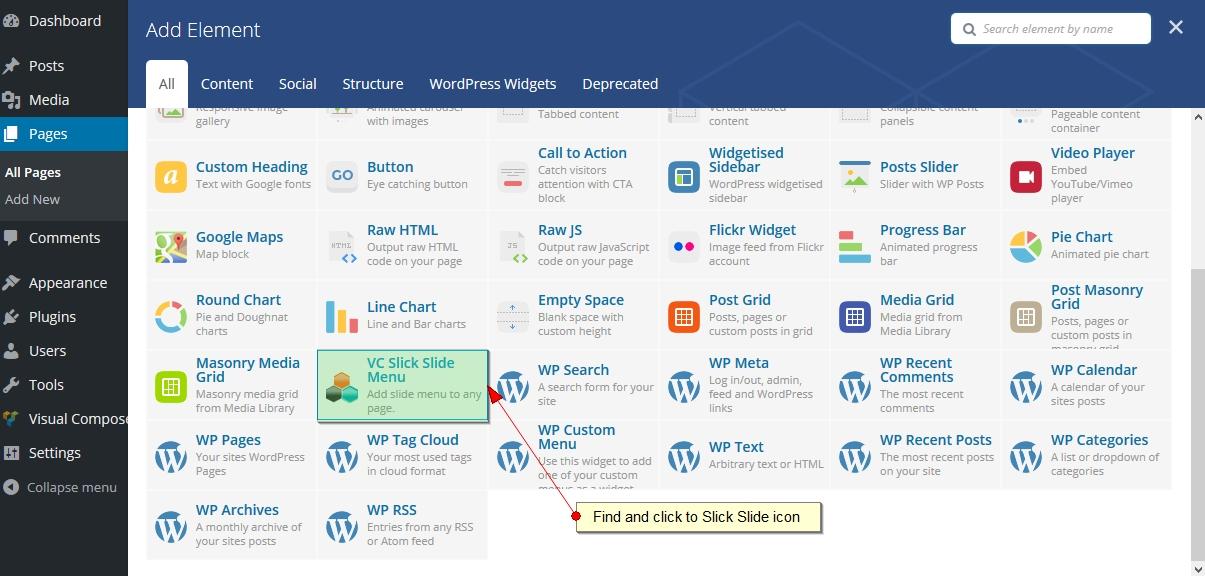 Slick Slide Menu Addon for Visual Composer WordPress Plugin