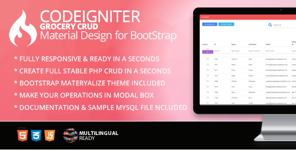 Codeigniter Grocery CRUD Material Design for Bootstrap Theme
