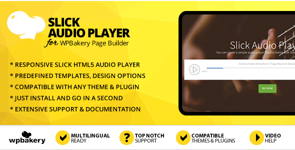 Slick Audio Player Addon for WPBakery Page Builder (Visual Composer)