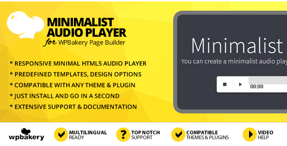 Minimalist Audio Player Addon for WPBakery Page Builder (Visual Composer)