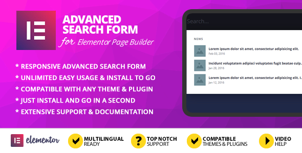 Advanced Search Form Addon for Elementor Page Builder