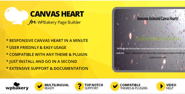 Elegant Mega Addons Animated Canvas Hearts Module for WPBakery Page Builder