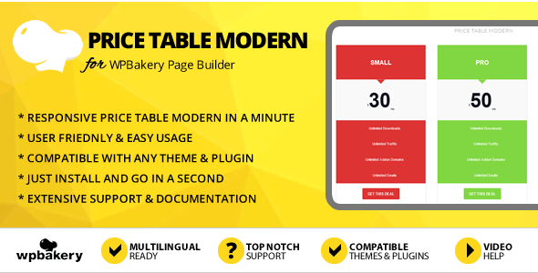 Elegant Mega Addons Price Table Modern for WPBakery Page Builder