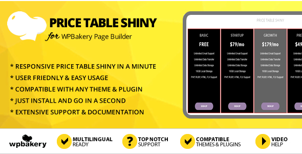 Elegant Mega Addons Price Table Shiny for WPBakery Page Builder
