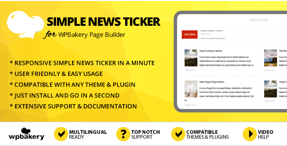 Elegant Mega Addons Simple News Ticker for WPBakery Page Builder