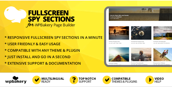 Elegant Mega Addons Fullscreen Spy Sections for WPBakery Page Builder