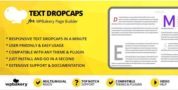 Elegant Mega Addons Text Dropcaps for WPBakery Page Builder
