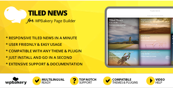 Elegant Mega Addons Tiled News for WPBakery Page Builder