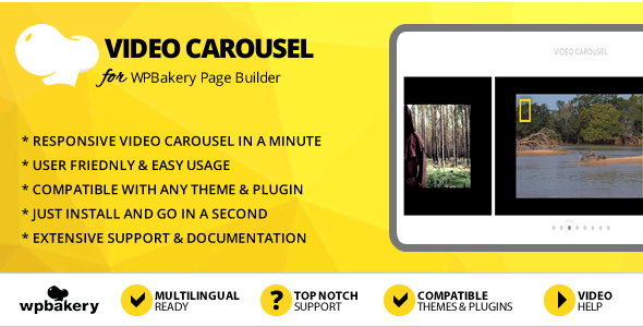 Elegant Mega Addons Video Carousel for WPBakery Page Builder