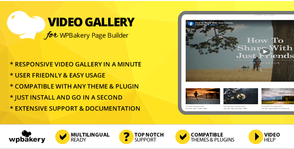 Elegant Mega Addons Video Gallery for WPBakery Page Builder
